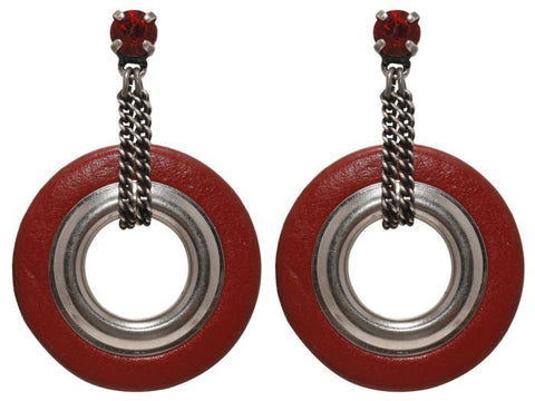 earring stud dangling Eternal Rings red antique silver