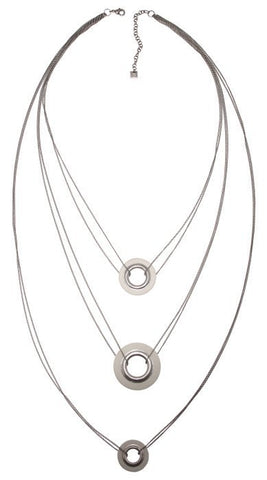 necklace (long) Eternal Rings white antique silver
