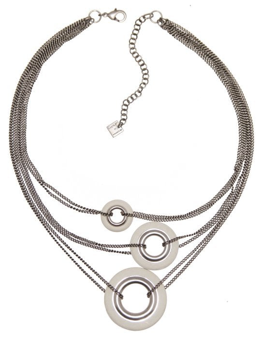 necklace Eternal Rings white antique silver