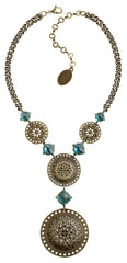 necklace-Y Ice Rosone green antique brass size 2XL,L,M