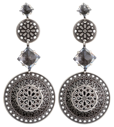 earring stud dangling Ice Rosone white antique silver size L,XS