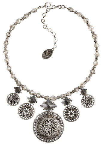 necklace Ice Rosone white antique silver size XL,M,S