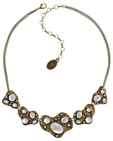 necklace Color Drops white antique brass