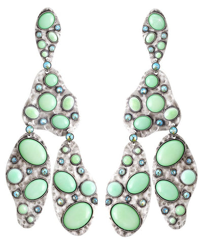 earring stud dangling Color Drops green antique silver