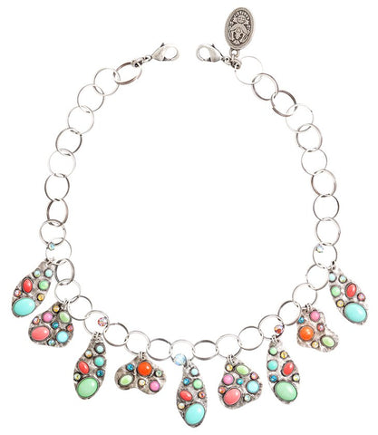 necklace/anklet Color Drops multi antique silver