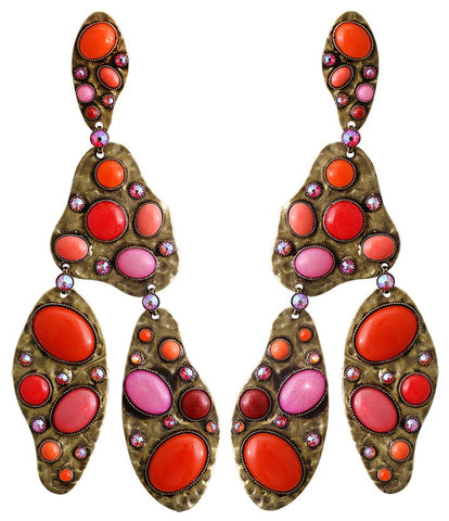 earring stud dangling Color Drops coralline antique brass