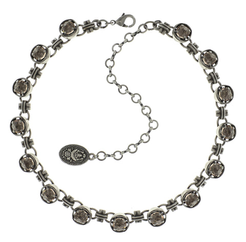 necklace choker long Medieval Pop beige antique silver size XS