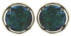 earring stud Medieval Pop blue/green antique brass size M