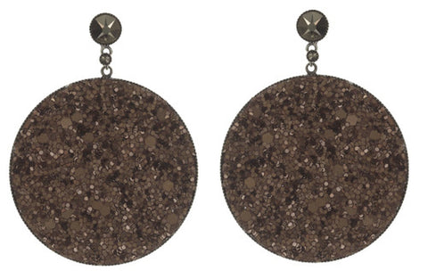 earring stud dangling Studio 54 brown antique silver size XL