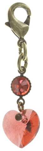charm Hearts for Us red/orange antique brass