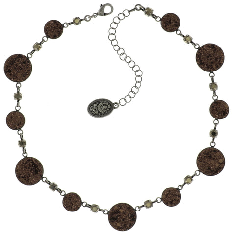 necklace Studio 54 brown antique silver size S,XS