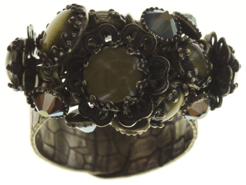 ring Flower Shadow green antique brass size S,2XS