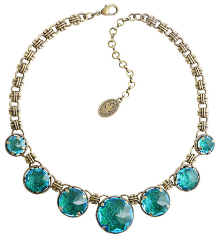 necklace Medieval Pop blue/green antique brass size XL,L,M,S
