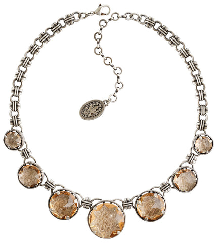 necklace Medieval Pop beige antique silver size XL,L,M,S