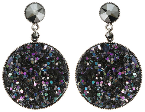 earring stud dangling Studio 54 black antique silver size M