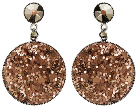 earring stud dangling Studio 54 brown antique silver size M
