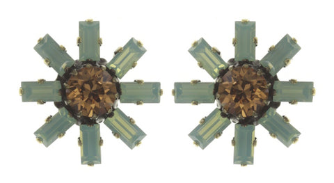 earring stud Spider Daisy - Daisy Spider brown/green antique brass