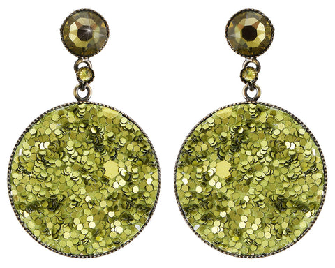 earring stud dangling Studio 54 green antique brass size M