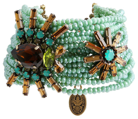 bracelet Spider Daisy - Daisy Spider brown/green antique brass