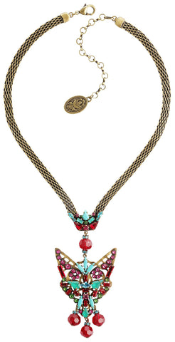 necklace The Fox multi antique brass size L