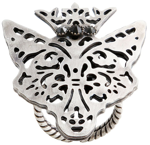 ring The Fox black antique silver size M