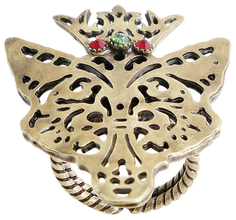 ring The Fox multi antique brass size M