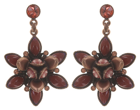 earring stud dangling Lotus Flower red antique copper size S