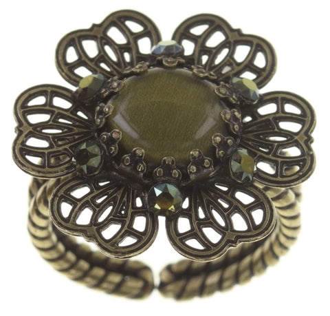 ring Flower Shadow green antique brass size S