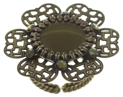 ring Flower Shadow green antique brass size L