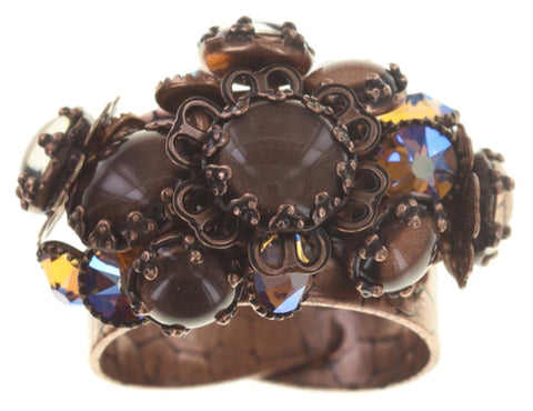 ring Flower Shadow brown antique copper size S,2XS