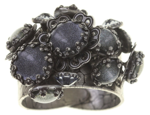 ring Flower Shadow grey antique silver size S,2XS