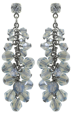 earring stud dangling Jumping Beads light blue antique silver