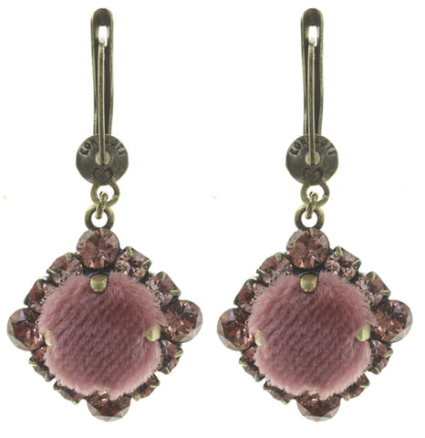 earring dangling Velvet Glitz pink antique brass