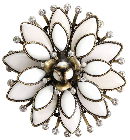 brooch Lotus Flower white antique brass size XL