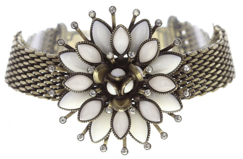 bracelet Lotus Flower white antique brass size L