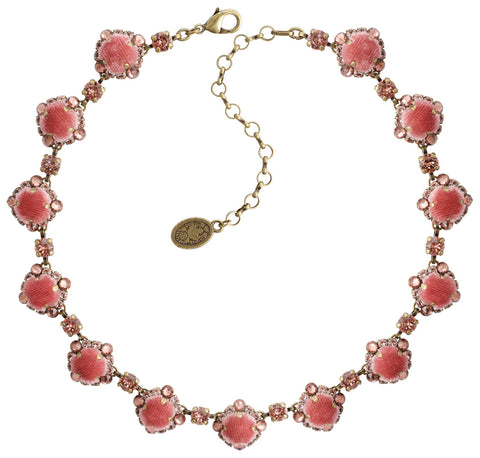 necklace Velvet Glitz pink antique brass