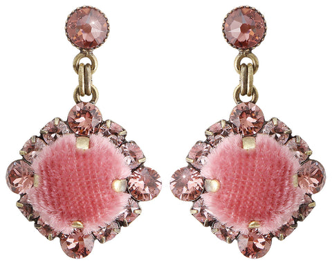 earring stud dangling Velvet Glitz pink antique brass