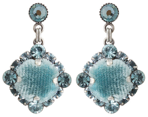 earring stud dangling Velvet Glitz light blue antique silver
