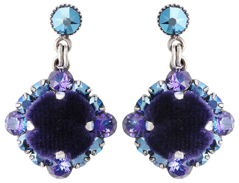 earring stud dangling Velvet Glitz blue/lila antique silver