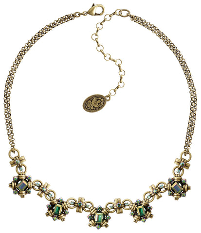 necklace Aztec green/lila antique brass