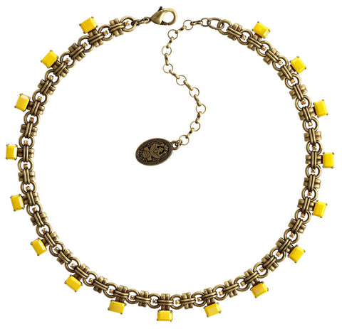 necklace Aztec yellow antique brass