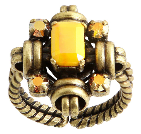ring Aztec yellow antique brass
