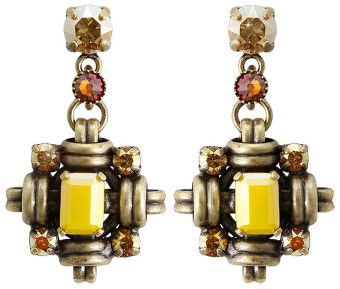 earring stud dangling Aztec yellow antique brass