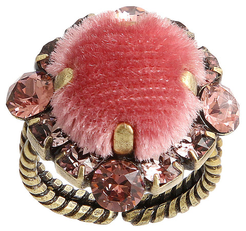 ring Velvet Glitz pink antique brass