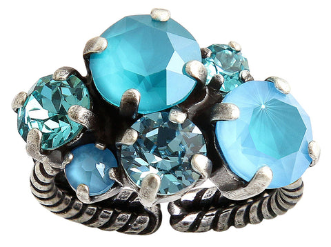ring Ballroom Classic Glam blue antique silver