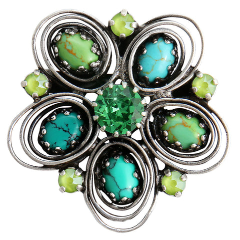brooch Boho Twist green antique silver size M