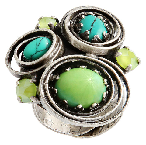 ring Boho Twist green antique silver