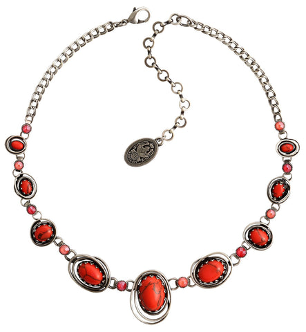 necklace Boho Twist red/orange antique silver