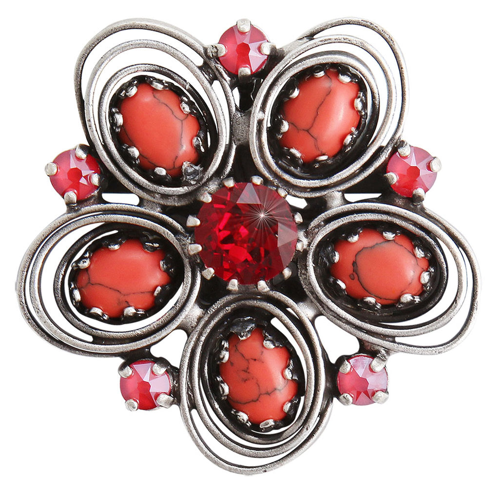 brooch Boho Twist red/orange antique silver size M
