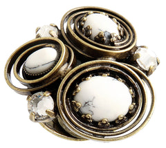 ring Boho Twist white antique brass